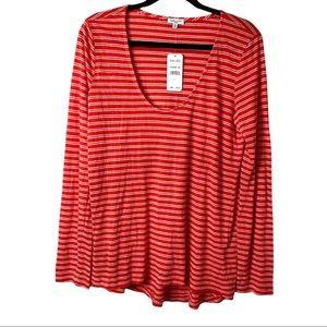 Splendid 1x1 Red/White Stripe Long Sleeve Swing T